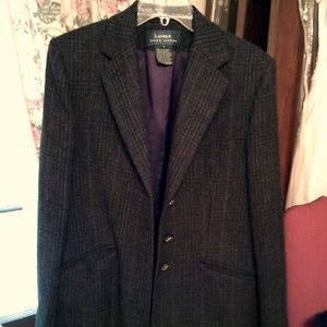 Ralph Lauren tweed plaid jacket